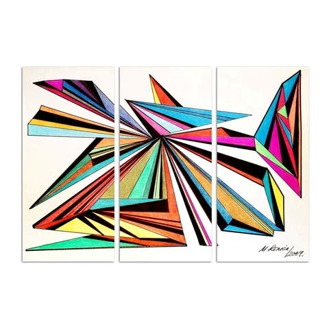 Oliver Gal 'Manuel Roman - Architecta triptych' Abstract Wall Art Canvas Print - Red, White