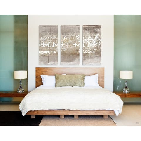 Oliver Gal 'Numerica Triptych' Abstract Wall Art Canvas Print - Gold, White - 17 x 36 x 3 Panels