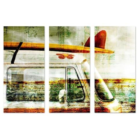 Oliver Gal 'Surf Van Triptych' Transportation Wall Art Canvas Print - Green, Orange