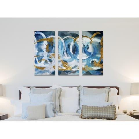 Oliver Gal 'Scriptica Gold and Blue Triptych' Abstract Wall Art Canvas Print - Blue, Gold