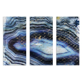 Oliver Gal 'Sea of Gold Triptych' Abstract Wall Art Canvas Print - Blue, White - 17 x 36 x 3 Panels