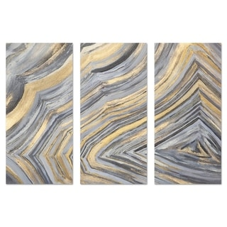 Oliver Gal 'Agate Lines Triptych' Abstract Wall Art Canvas Print - Gold, Gray - 17 x 36 x 3 Panels