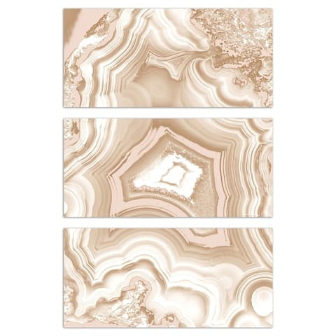 Oliver Gal 'AdoreGeo Camel Triptych' Abstract Wall Art Canvas Print - White, Brown