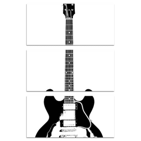 Oliver Gal 'Guitar in Black Triptych' Music and Dance Wall Art Canvas Print - Black, White
