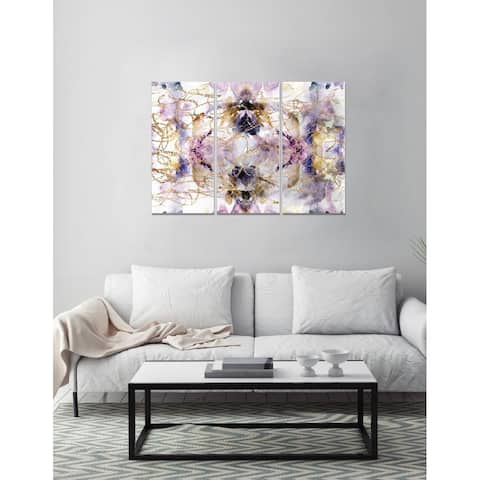 Oliver Gal 'Her Own Way Triptych' Abstract Wall Art Canvas Print - Purple - 17 x 36 x 3 Panels
