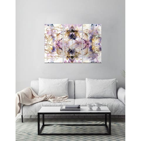 Oliver Gal 'Her Own Way Triptych' Abstract Wall Art Canvas Print - Purple