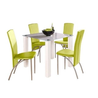Dante High Gloss Glass Faux Leather 5-Piece Square Dining Set