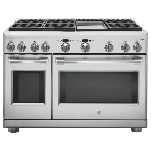 """GE Cafe Series 48"""" Dual-Fuel Professional Range with 6 Burners and Griddle (Natural Gas)"""