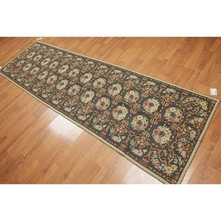 "Ornamental Botanical Needlepoint Aubusson Area Rug (3'1""x10'4"")"