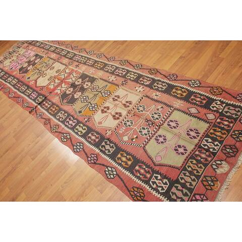 "Vintage Turkish Kilim Hand Woven Runner Rug - Charcoal/Rust - 3'8"" x 13'3"" - 3'8"" x 13'3"""