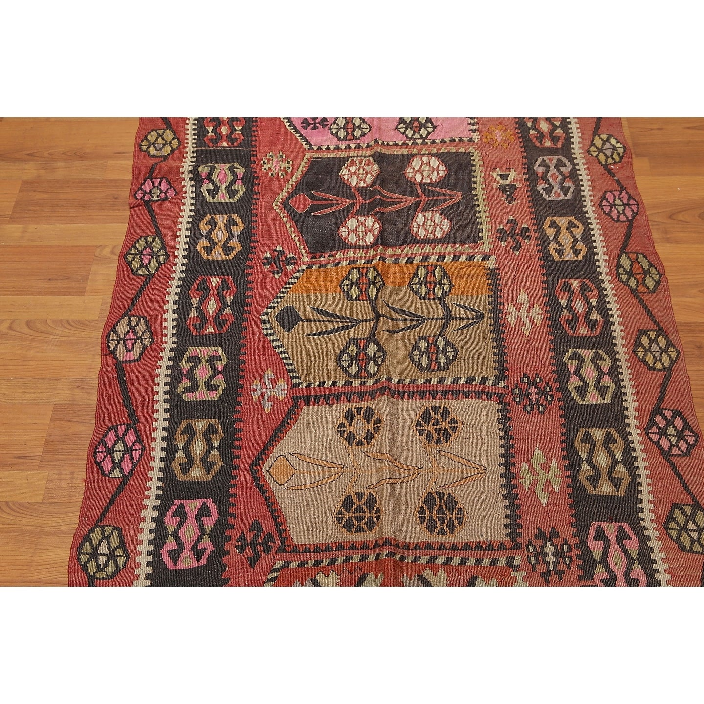 Vintage Turkish Kilim Hand Woven Runner Rug Charcoal Rust 3 8 X 13 3 3 8 X 13 3 On Sale Overstock 20490796