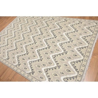 Ikat Design Oriental Hand Knotted Area Rug (6'x9')