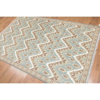 Chevron Ikat Design Oriental Hand Knotted Area Rug (5'x8')