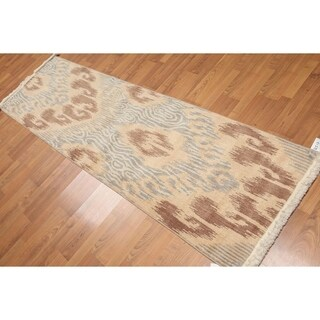 Contemporary Ikat Runner Hand Knotted Area Rug - Multi