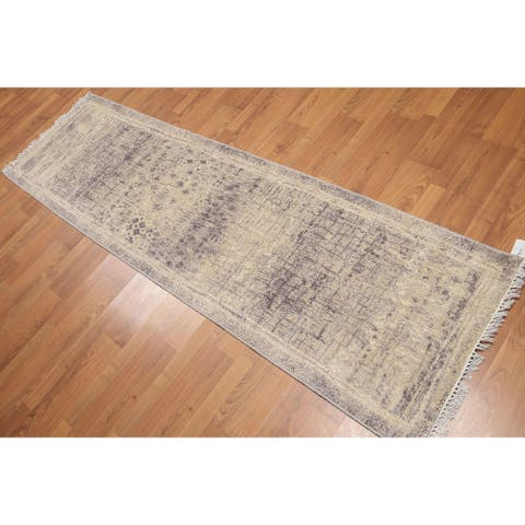 "Modern Abstract Runner Hand Knotted Area Rug - Beige/Grey - 2'4"" x 8' - 2'4"" x 8'"