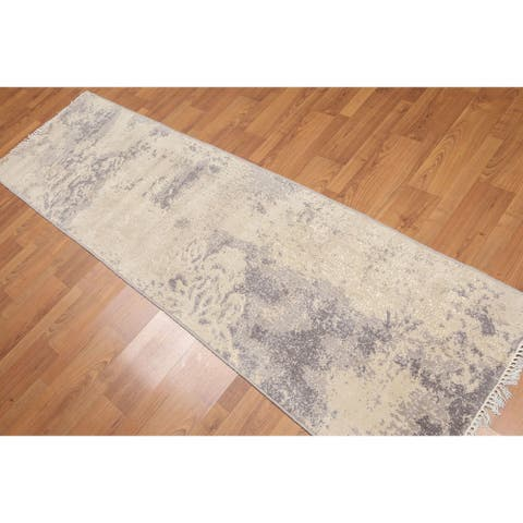 "Contemporary Industrial Style Runner Hand Knotted Area Rug - Ivory/Grey - 2'4"" x 8' - 2'4"" x 8'"