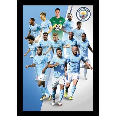 Man City Players 17/18 Poster with Choice of Frame (24x36)