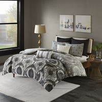 INK+IVY Orissa Grey Reversible Cotton 3-piece Duvet Cover Set