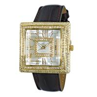 Adee Kaye Womens MOP Crystal Watch with Facetted Glass-Gold tone