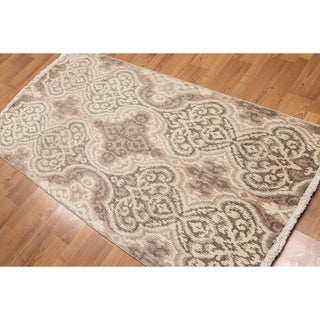 Damask Design Oriental Hand Knotted Area Rug - Taupe/Beige - 3' x 6'