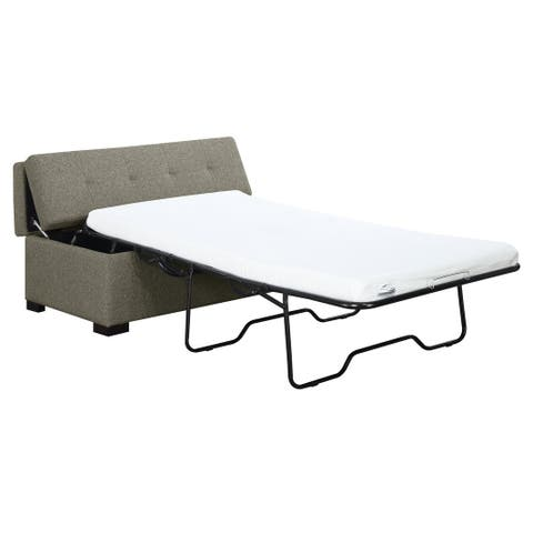 Cache I Gray Twin Sleeper Ottoman, with Pillows, Tufted, Padded Top And Pull Out Twin Gel Mattress