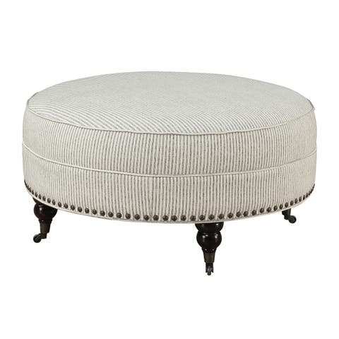 Emerald Home Willow Creek Pebble Gray Stripe Round Ottoman with Turned Feet, Nailhead Trim, And Seam Welting