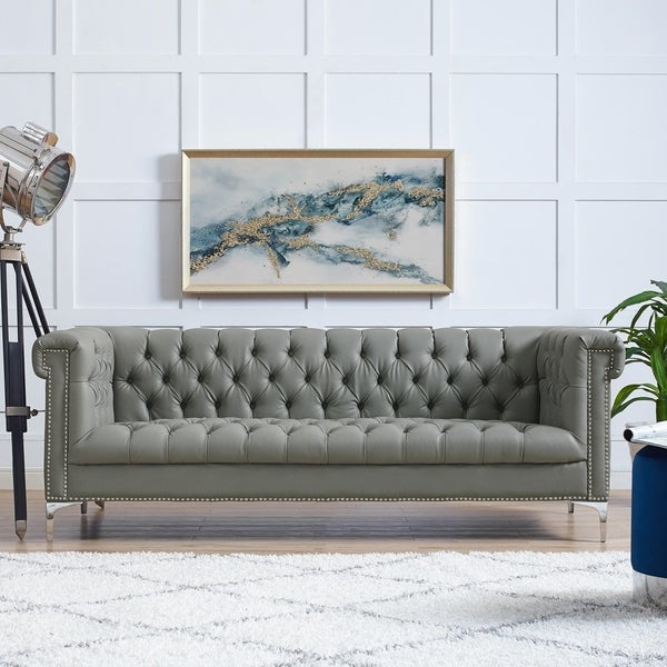 Manchester Pu Leather Sofa On Tufted Nail Head Trim With Y Legs
