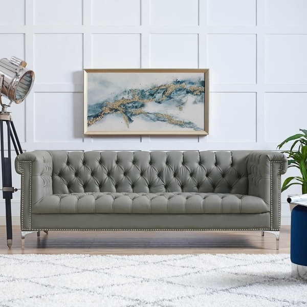 Leather Recliner Sofa Manchester: Shop Manchester PU Leather Sofa Button Tufted Nail-head