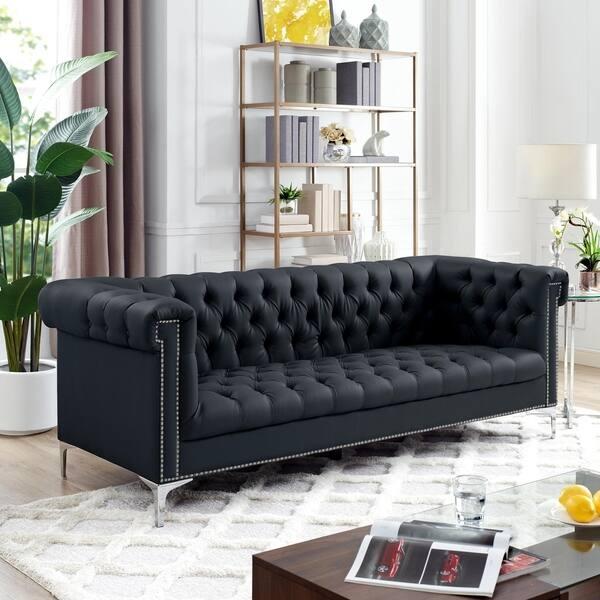Pu Leather Sofa On Tufted