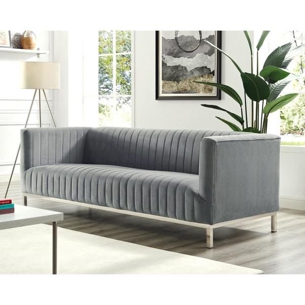 Inspired Home Ethan Velvet Tuxedo Sofa With Stainless Steel Legs