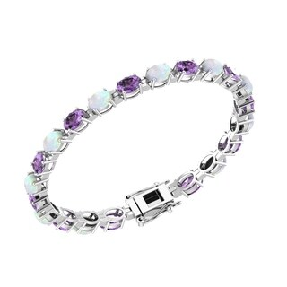 Oval Shaped Gemstone Tennis Bracelet in Multiple Gemstones / Colors, Made in Solid Sterling Silver