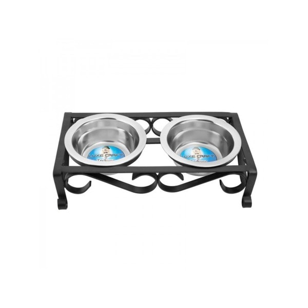 Black Raised Wrought Iron Pet Dishes. Opens flyout.
