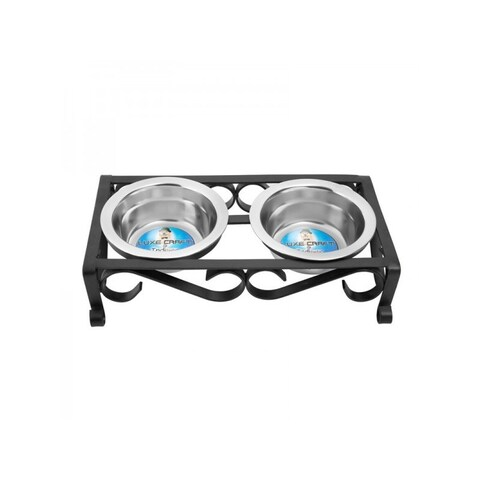 Black Raised Wrought Iron Pet Dishes