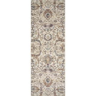 "Traditional Ivory/ Rust Mosaic Floral Spray Runner Rug - 2'8"" x 10' Runner"
