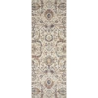 Traditional Ivory/ Rust Mosaic Floral Spray Runner Rug - 2'8 x 10'