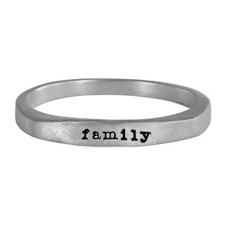 Sterling Silver Flat Top Ring Hand Stamped with family