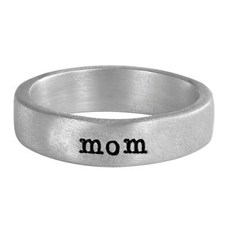 Sterling Silver Round Edged Wide Ring Hand Stamped with mom - mom Ring