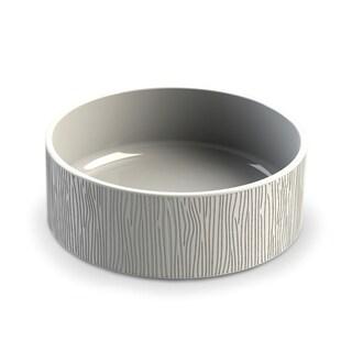 Wood Grain Ceramic Stoneware Medium Pet Bowl