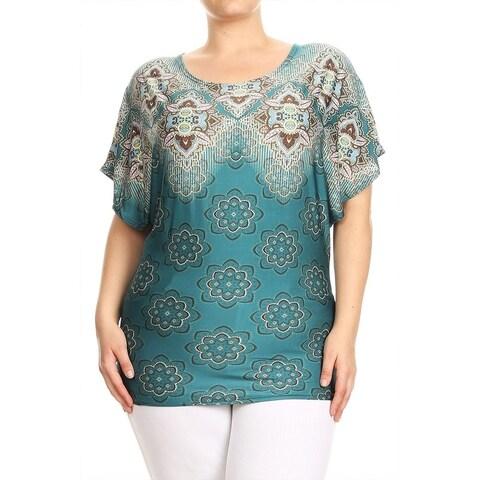 Women's Plus Size Mixed Pattern Tunic