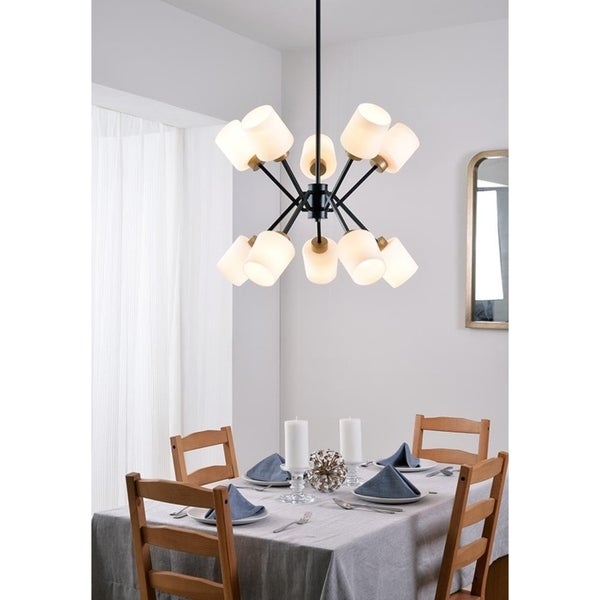 "Cosgrove 15"" 10 Light Chandelier - Matte Black and Gold"