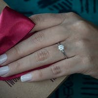 14k White Gold Lab Created Diamond Solitaire Engagement Ring (1 Carat, K-L Color, SI1-SI2 Clarity)