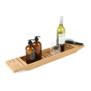 Mind Reader Bamboo Bathtub Tray Caddy, Brown