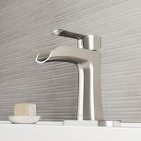 VIGO Paloma Brushed Nickel Single Hole Bathroom Faucet with Deck Plate
