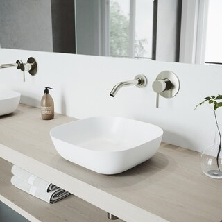 VIGO Camellia Matte Stone Vessel Bathroom Sink Set With Olus Brushed Nickel Wall Mount Faucet