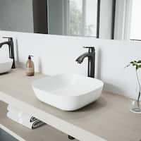 VIGO Camellia Matte Stone Vessel Bathroom Sink Set With Linus Antique Rubbed Bronze Vessel Faucet