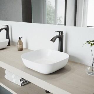 VIGO Camellia Matte Stone Vessel Bathroom Sink and Linus Faucet Set