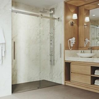 VIGO Caspian Chrome Adjustable Frameless Sliding Shower Door