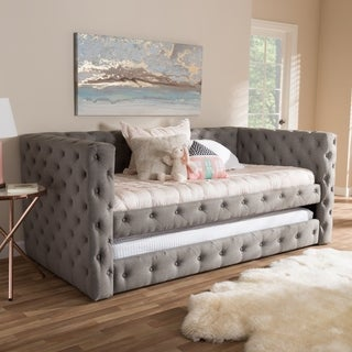 Contemporary Fabric Upholstered Daybed With Trundle by Baxton Studio