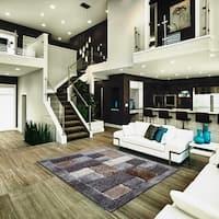 Grey with Beige Geometric Design Indoor Decor Rug - 5' x 7'