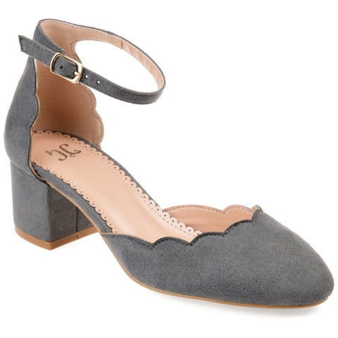 Journee Collection Women's 'Edna' Scalloped Ankle Strap Pumps